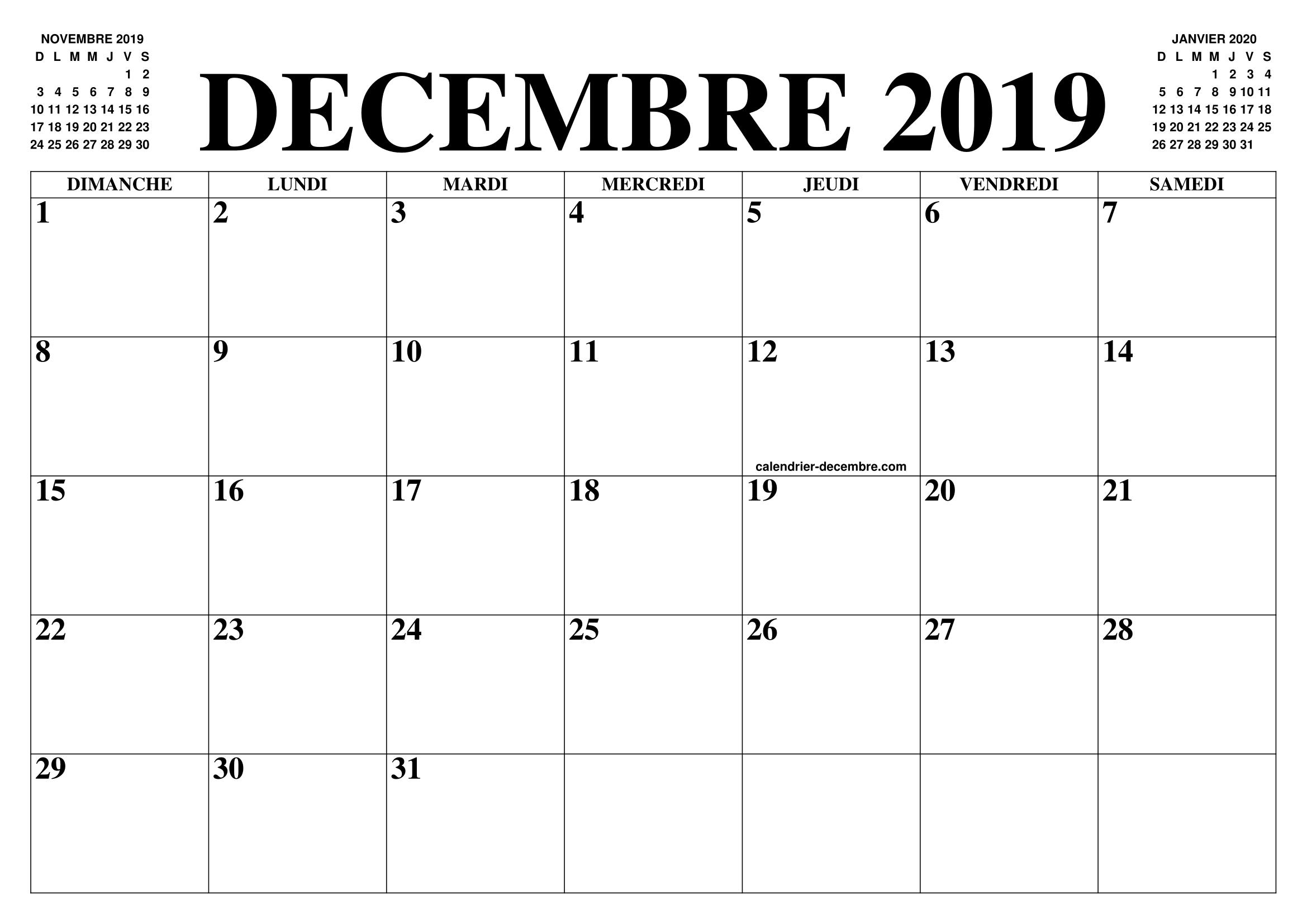 Calendrier 2019 Mois Par Mois A Imprimer.Calendrier Decembre 2019 2020 Le Calendrier Du Mois De